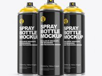 3 Glossy Spray Bottles Mockup