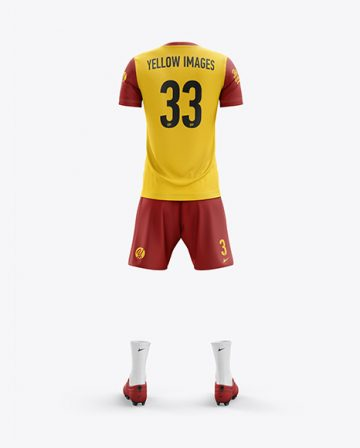 Men's Full Soccer Kit with Lace-Up Jersey mockup (Back View)