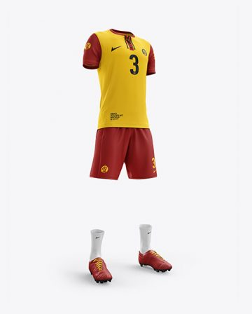 Men's Full Soccer Kit with Lace-Up Jersey mockup (Hero Shot)