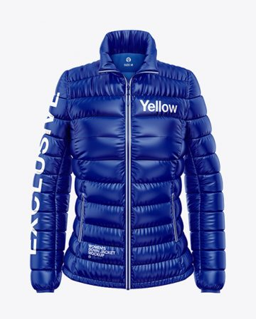 Glossy Women's Down Jacket Mockup - Front View