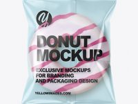 Clear Plastic Bag With White Glazed Donut With Pink Stripes Mockup