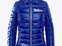 Glossy Women's Down Jacket w/Hood Mockup - Front View