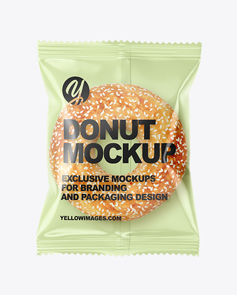 Plastic Bag With Donut With Sesame Seeds Mockup
