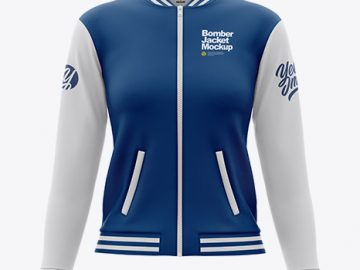 Women's Long Sleeve Bomber Jacket Mockup - Front View