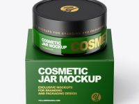 Green Glass Cosmetic Jar with Paper Box Mockup