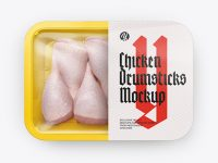Plastic Tray With Chicken Drumsticks Mockup