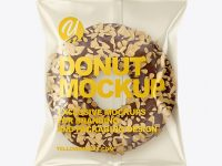 Plastic Bag With Chocolate Glazed Donut with Nut Crumbs Mockup