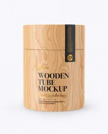 Wooden Tube Mockup - Front View