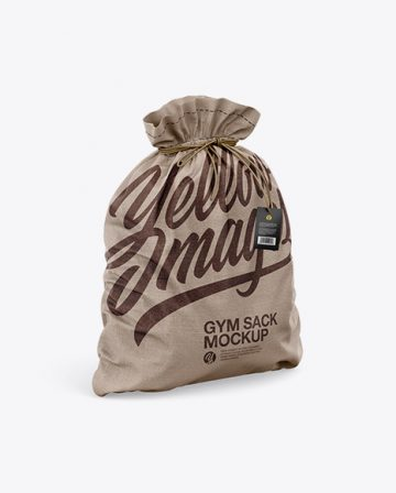Textured Gym Sack w/ Label Mockup - Half Side View