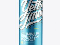 1L Metallic Aluminium Can Mockup