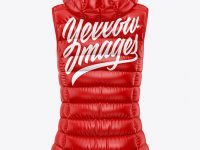 Glossy Women's Down Vest w/Hood Mockup - Back View