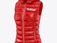 Glossy Women's Down Vest w/Hood Mockup - Front Half Side View