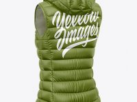 Matte Women's Down Vest w/Hood Mockup - Back Half Side View
