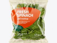Plastic Bag With Spinach Mockup