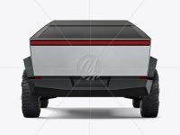 Electric Pickup Truck Mockup - Back View