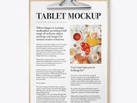Wooden Tablet with Paper Mockup