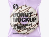 Plastic Bag With White Chocolate Glazed Donut with Sprinkles Mockup