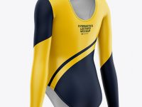 Long Sleeve Gymnastics Leotard Mockup - Back Half Side View