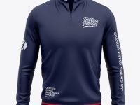 Men's Quarter Zip Sweatshirt Mockup - Front View