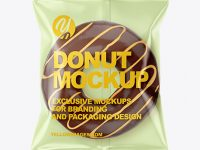 Plastic Bag With Chocolate Glazed Donut with Orange Stripes Mockup