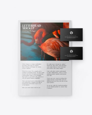 Glossy A4 Paper w/ Two Business Cards Mockup