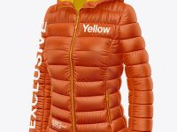 Matte Women's Down Jacket w/Hood Mockup - Front Half Side View