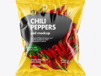 Plastic Bag With Red Chili Peppers Mockup