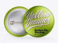 Two Metallic Button Pins Mockup