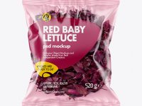 Plastic Bag With Red Baby Lettuce Mockup