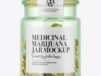 Medicinal Marijuana in Green Glass Jar Mockup