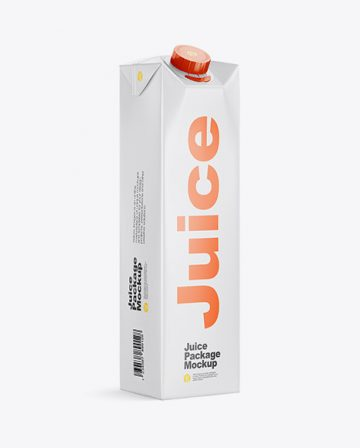 1L Matte Juice Package Mockup - Halfside View