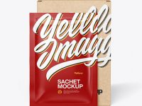 Kraft Box with Glossy Sachet Mockup