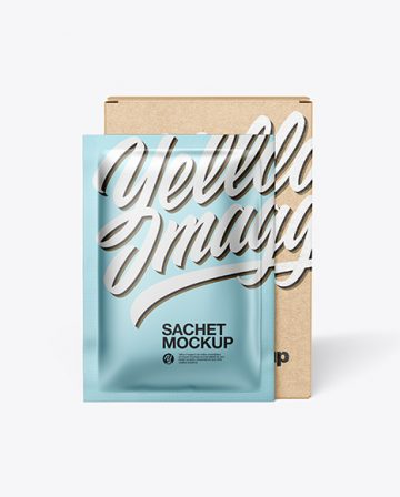 Kraft Paper Box with Metallic Sachet Mockup