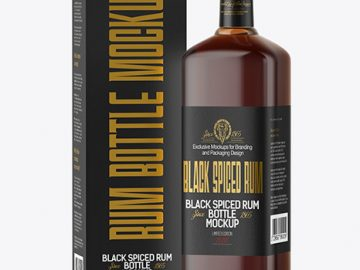 Black Rum Bottle with Box Mockup