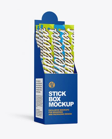 Paper Box with Snack Sticks Mockup