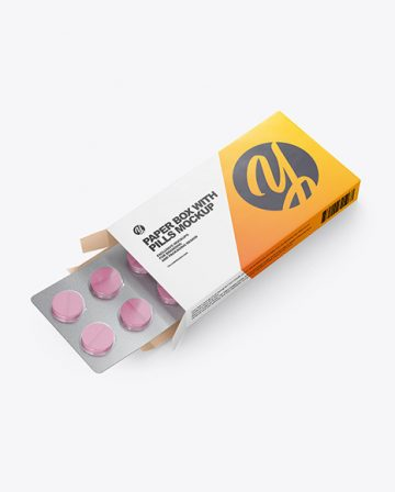 Opened Paper Box & Pills Mockup - Halfside View (High-Angle Shot)