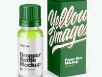 Clear Glass Dropper Bottle with Box Mockup