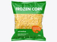 Plastic Bag With Frozen Corn Mockup