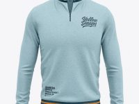 Men's Heather Quarter Zip Sweatshirt Mockup - Front View
