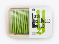Plastic Tray With Green Beans Mockup