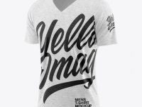 Melange Men's Raglan V-Neck T-Shirt Mockup