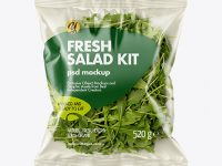 Plastic Bag With Rucola Salad Mockup