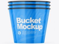 Three Glossy Buckets Mockup