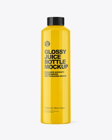 Glossy Juice Bottle Mockup