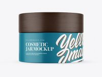 Matte Cosmetic Jar with Wooden Cap Mockup