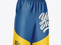 Compression Shorts Mockup – Front Half Side View