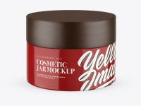 Glossy Cosmetic Jar with Wooden Cap Mockup