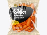 Plastic Bag With Baby Carrots Mockup