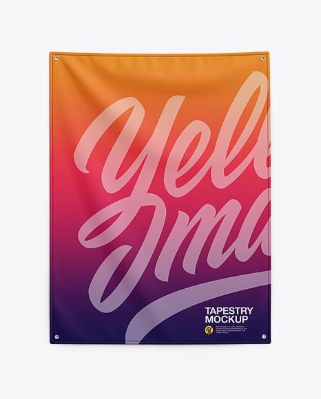 Home Decor Wall Tapestry Mockup - Textile Fabric Banner