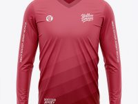 Men's Long Sleeve Soccer Jersey T-shirt Mockup - Front View